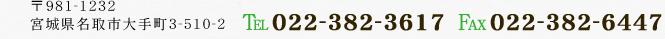 〒981-1232 宮城県名取市大手町3-510-2 TEL:022-382-3617 FAX:022-382-6447